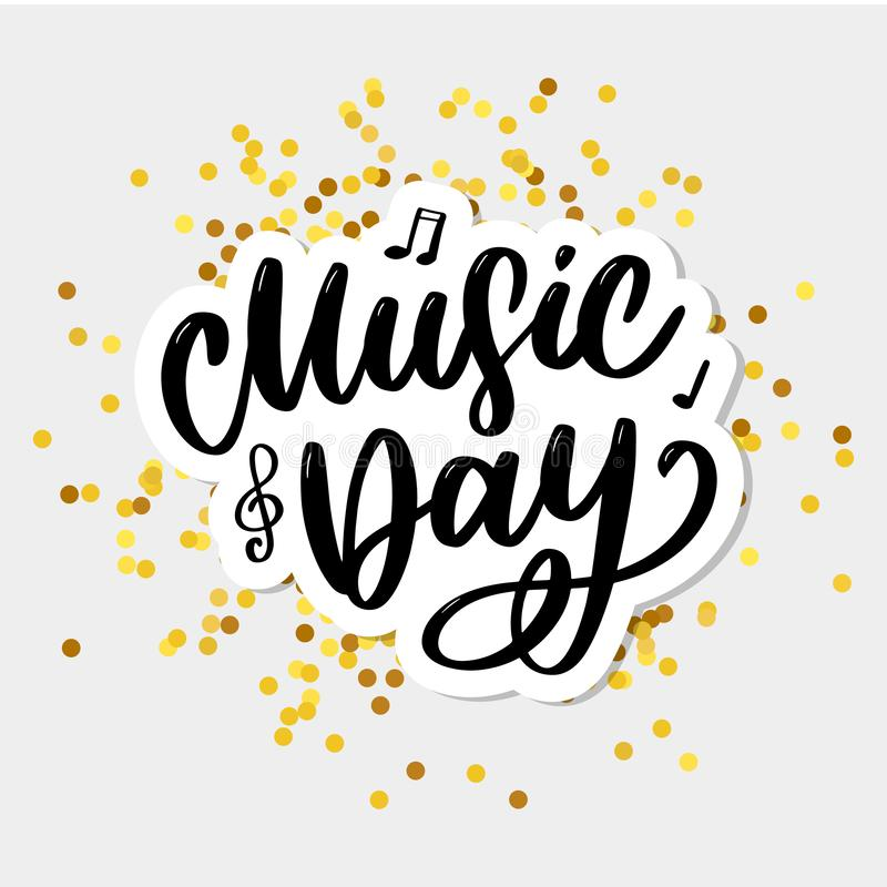 world music day lettering calligraphy brush logo holiday stock illustration