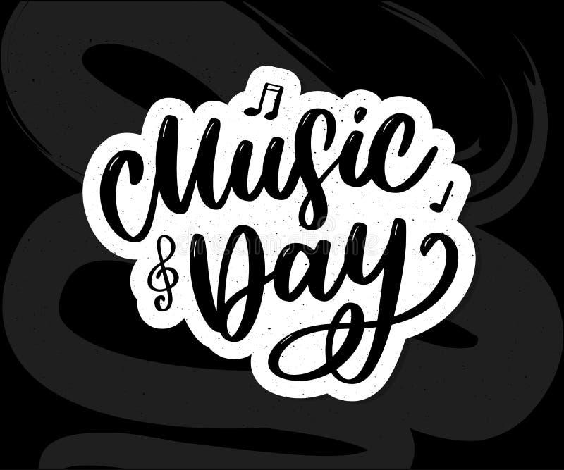 world music day lettering calligraphy brush logo holiday vector illustration