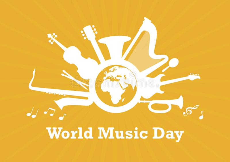 World Music Day with musical instruments vector royalty free illustration