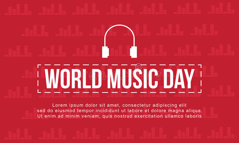 World music day with red background style. Vector art