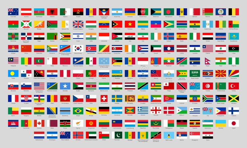 World national flags. Official country signs, europe emblems, asia and america countries flag flat vector set stock illustration