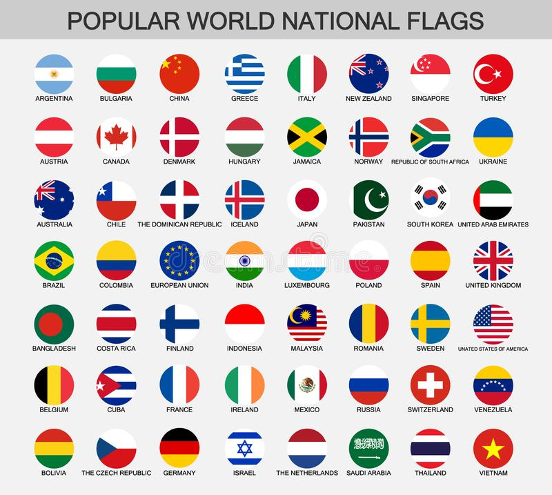 World national flags round buttons. Popular word official flag collection, round national flags icons vector illustration