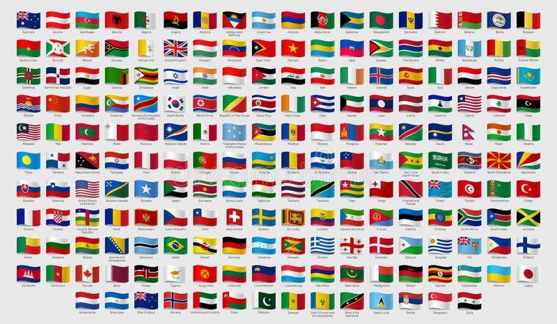 World national waving flags. Official country signs with names, countries flag banners vector set. World national waving flags. Official country signs with names stock illustration