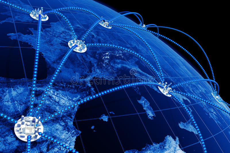 World network. The network covering symbolical cities of the Earth. Hi-res digitally generated image