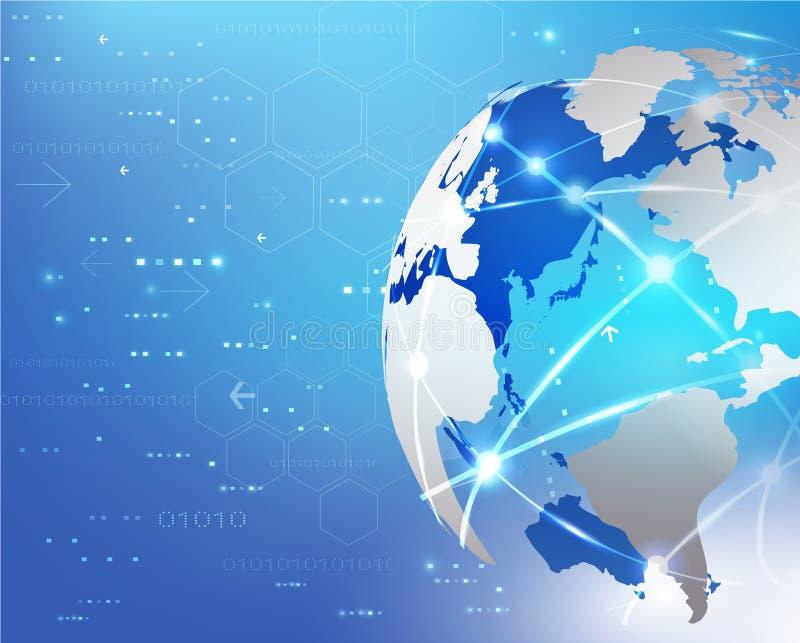 World network communication and technology background,illustration royalty free illustration