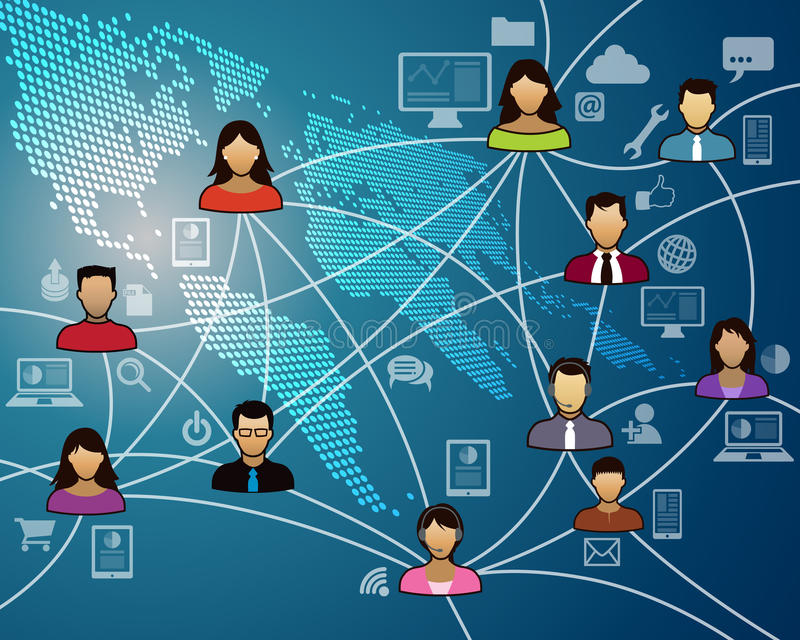 World Network. A group of people gather in a social world global network to communicate royalty free illustration