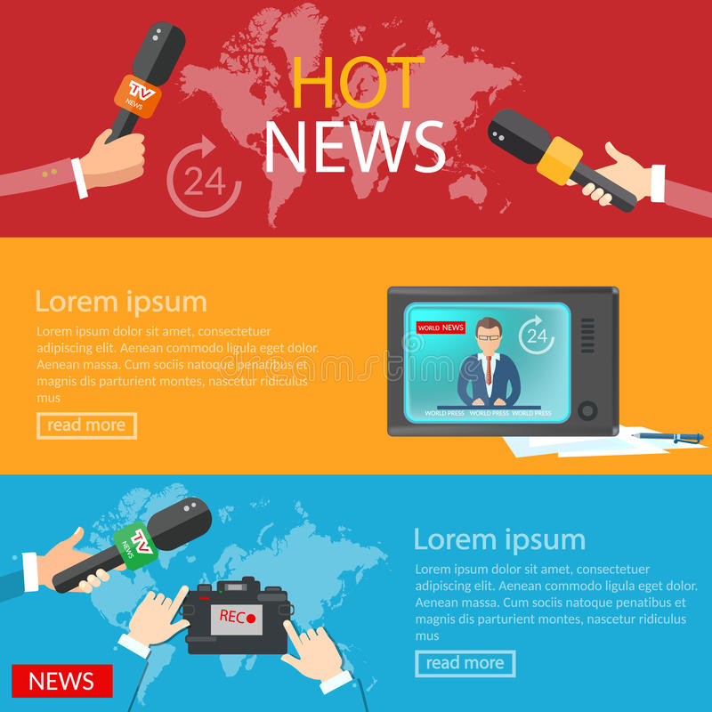 World news banners global online telecommunications tv radio stock illustration