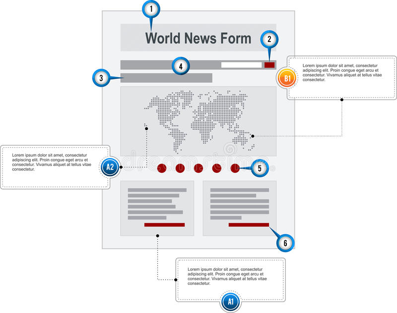 World News Internet Web Page Wireframe Structure P. Rototype with pointer markers and callouts vector stock illustration