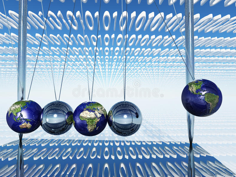 Download World Newtons Cradle With Binary Stock Illustration - Illustration: 31803808