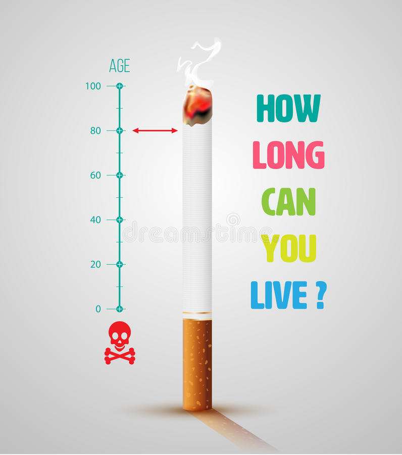 World No Tobacco Day Banner With Cigarette royalty free illustration