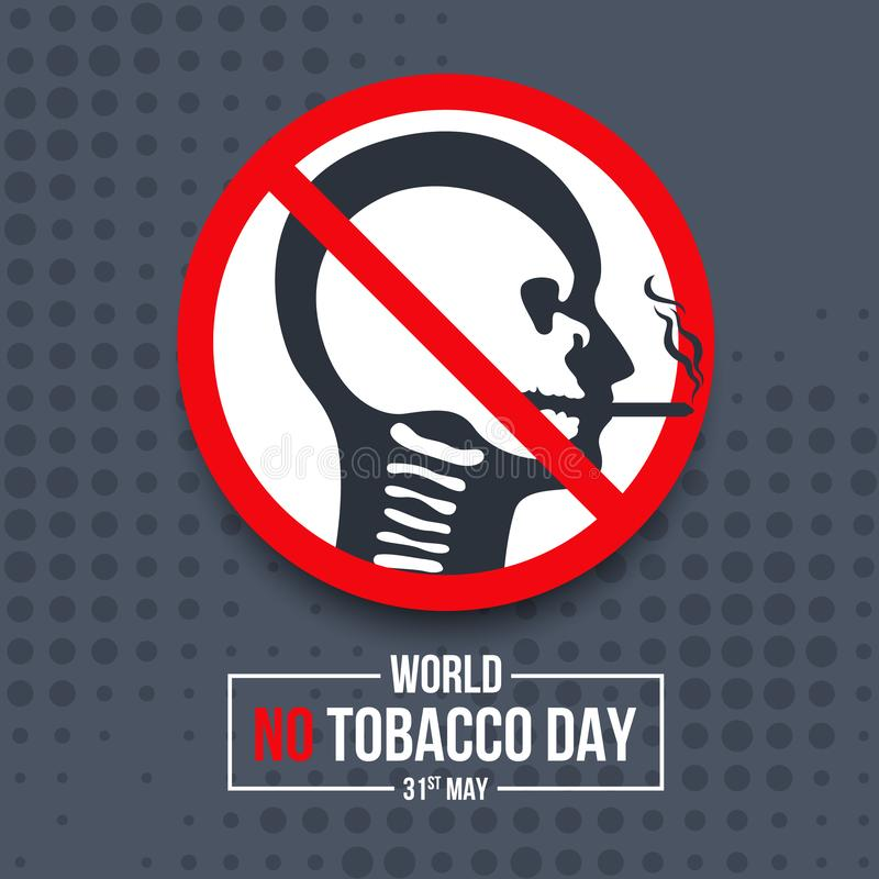 World no tobacco day banner with head skull in human are smoking sign vector design royalty free illustration