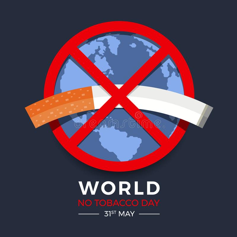 World no tobacco day banner with  red circle no tobacco sign on earth texture background vector design stock illustration