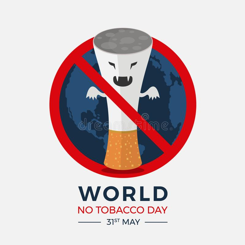 World no tobacco day banner with  red circle stop tobacco devil sign on earth texture background vector design stock illustration