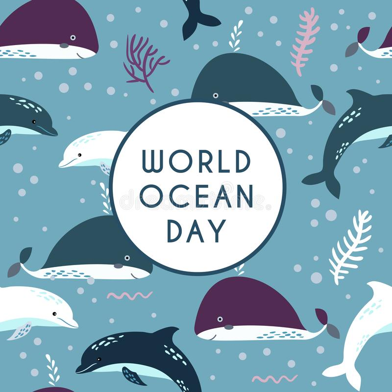 World ocean day. Element of image furnished by NASA. World ocean day greeting card. Dolphin and whale. Seamless pattern vector illustration