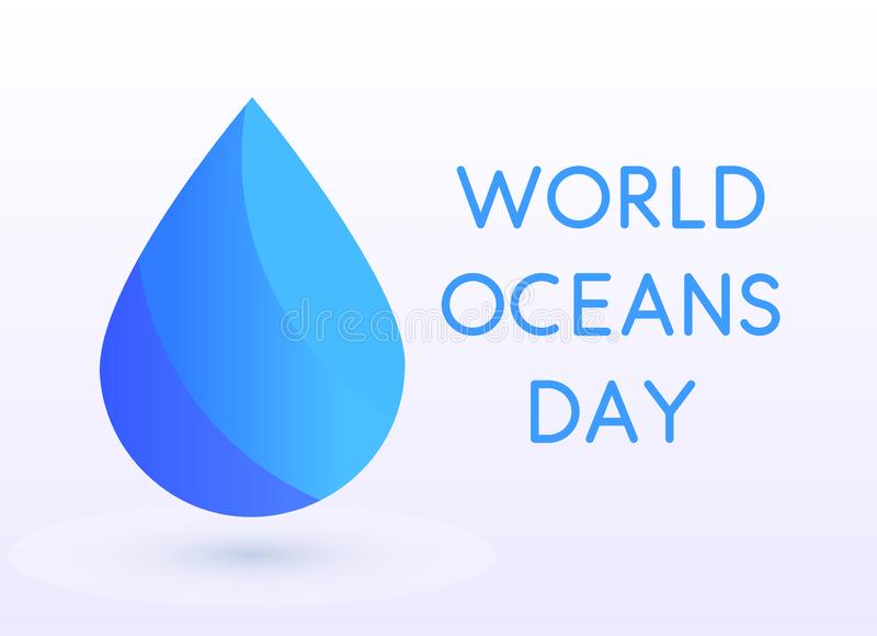 World Oceans Day design template. Ocean health protect graphic symbol. Nature care logo. Environment planet Isolated. Vector illustration royalty free illustration