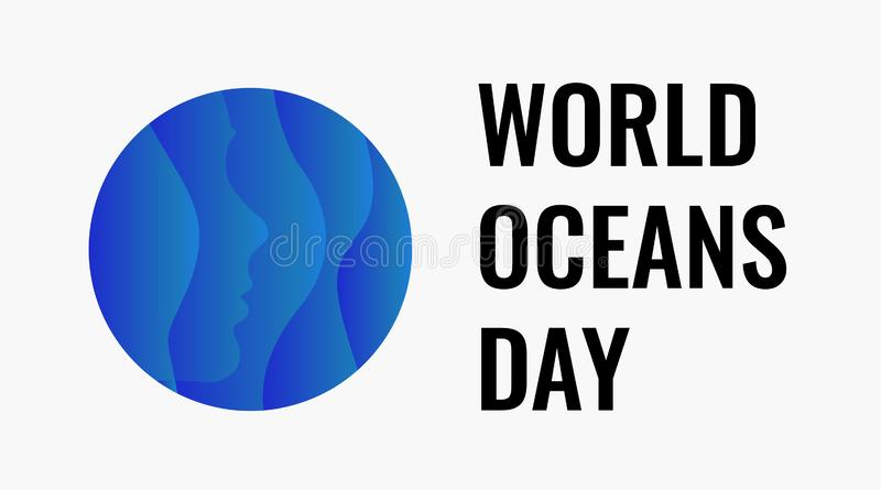 World Oceans Day design template. Ocean health protect graphic symbol. Nature care logo. Environment planet Isolated. Vector illustration stock illustration