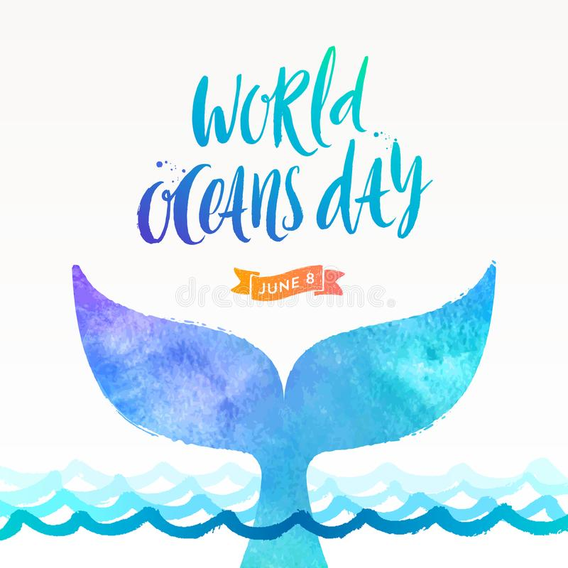 World oceans day illustration - brush calligraphy and the tail of a dive whale above the ocean surface. royalty free illustration