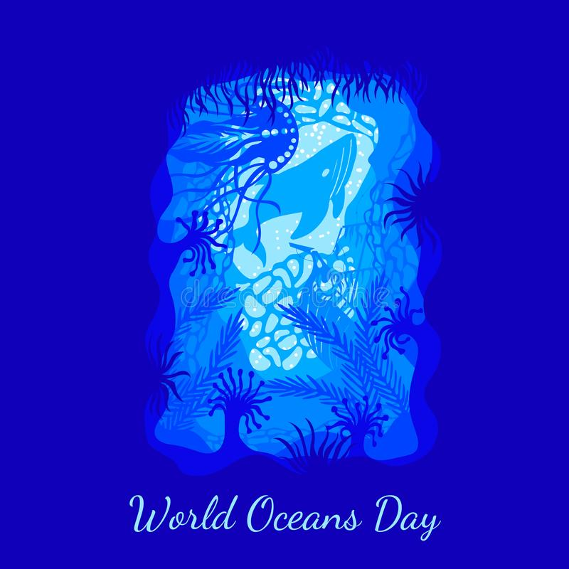 World Oceans Day. View from an underwater cave - the plants, corals, sunken ship, jellyfish, whales royalty free illustration