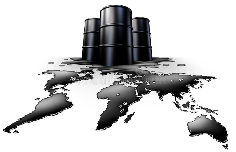 World Oil Crisis. Energy concept and petroleum exports symbol as a global fossil fuel supply icon as a spill shaped as the planet as a 3D illustration on white royalty free illustration