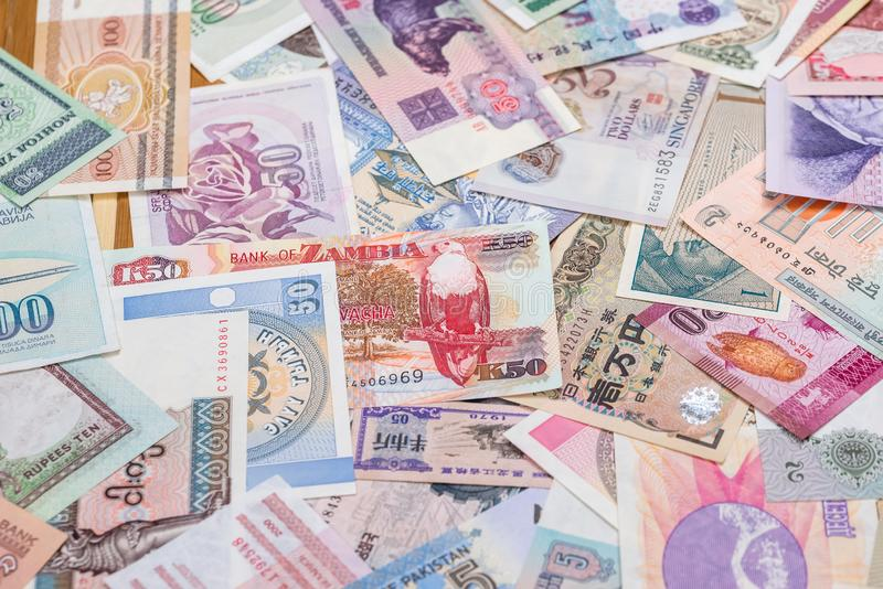 World paper money as background. close up stock images