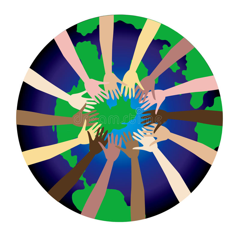 World Peace 2. World Peace shown through a diverse set of hands stock illustration