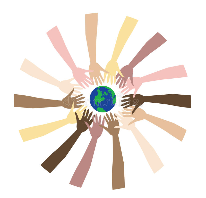 World Peace 3. World Peace shown through a diverse set of hands vector illustration