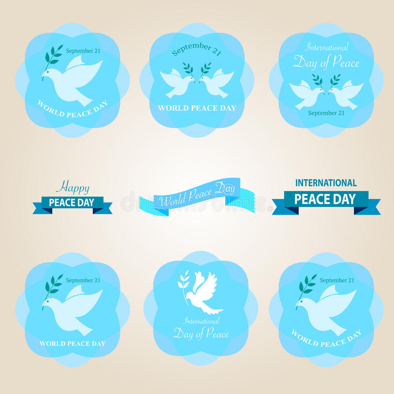 Free World Peace Day Badges And Labels Design Royalty Free Stock Image - 58733126