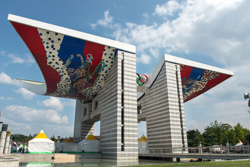 World Peace Gate. The 24th Seoul Olympic representative symbol of sculptures, South Korea royalty free stock photography