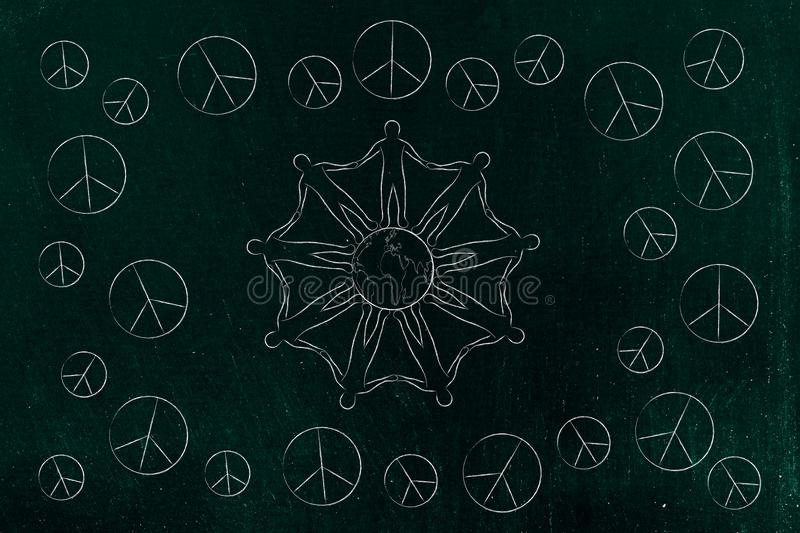 People holding hands around the world and peace symbols all around them. World peace and solidarity conceptual illustration: people holding hands around the vector illustration