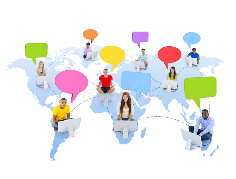 World People Connected by Social Media stock image