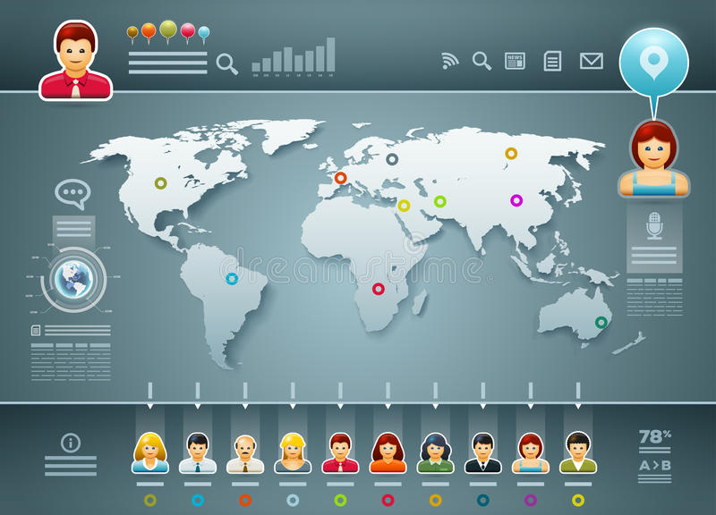 World and People Infographics vector illustration