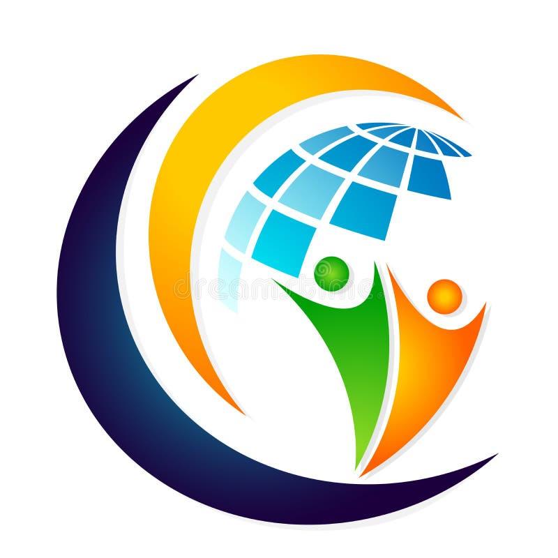 Globe People logo team work partnership education celebration group work people symbol icon vector designs on white background. World People logo team work vector illustration