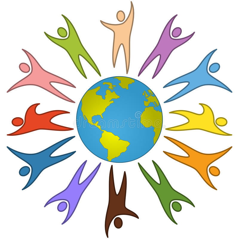 World People Peace Concept. Colorful people of the world surrounding the earth. Peace, unity and diversity concept. Eps file available vector illustration