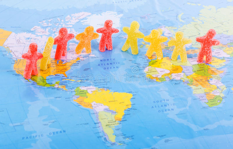 World people peace concept stock illustration illustration of colorful jelly candy people placed on a world map in a world peace concept gumiabroncs Gallery