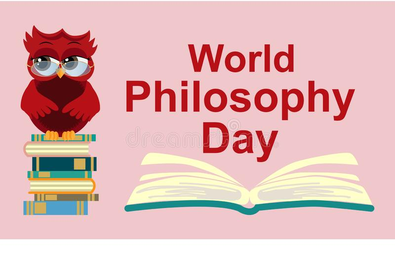 World Philosophy Day. Smart owl on stack of books, open book and lettering on blue background vector illustration
