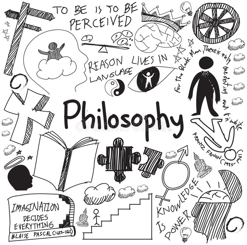 World philosophy and religion doctrine handwriting doodle sketch. Design subject sign and symbol in white isolated background paper for education subject royalty free illustration