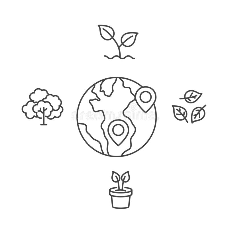 World with pin location mark sign. Love nature concept with tree and plant icon vector isolated modern outline on white. Background stock illustration