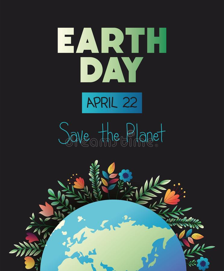 World planet earth day with floral decoration vector illustration
