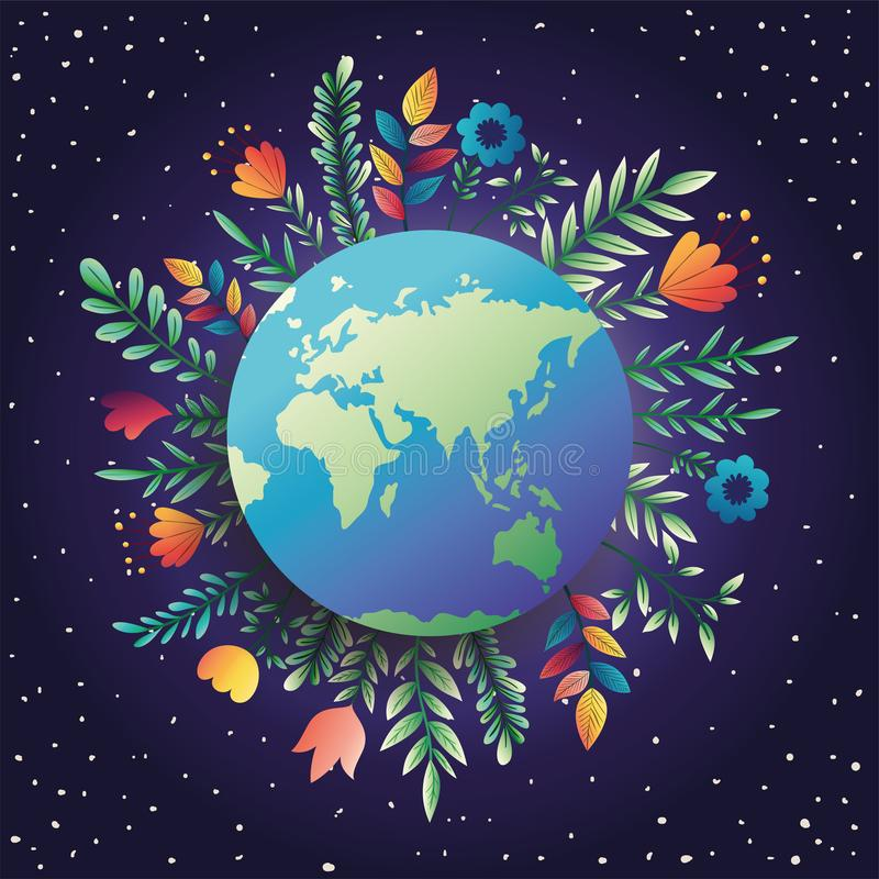 World planet earth day with floral decoration royalty free illustration