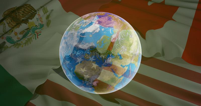 world planet earth globe and flag of USA Canada Mexico 3d-illustration. elements of this image furnished by NASA royalty free illustration