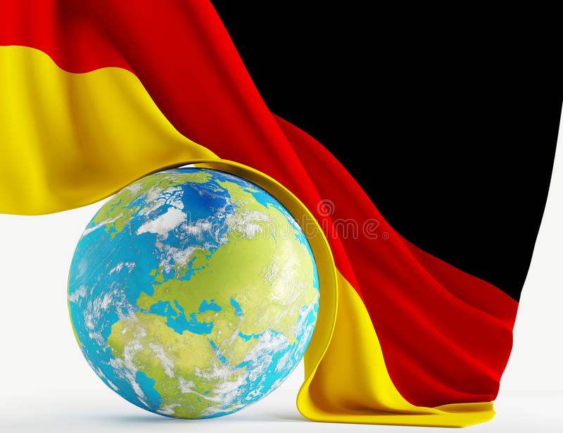 World planet Germany with german flag 3d-illustration. elements vector illustration