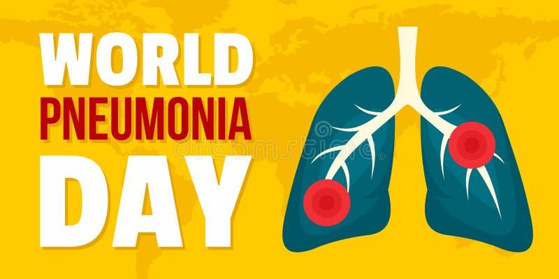 World pneumonia day banner horizontal, flat style stock illustration