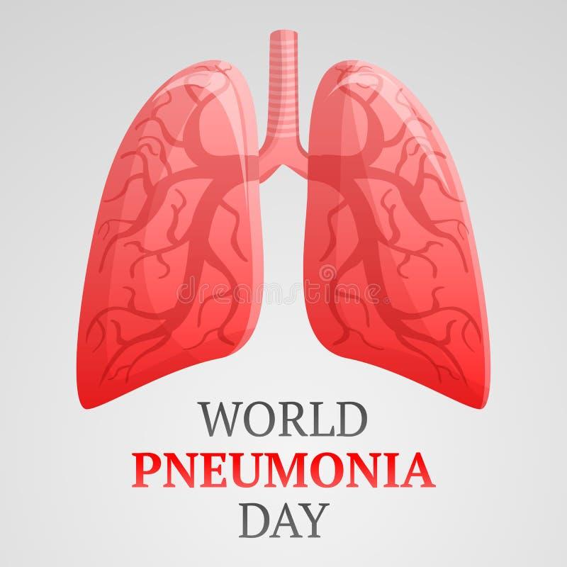World pneumonia day concept background, cartoon style royalty free illustration