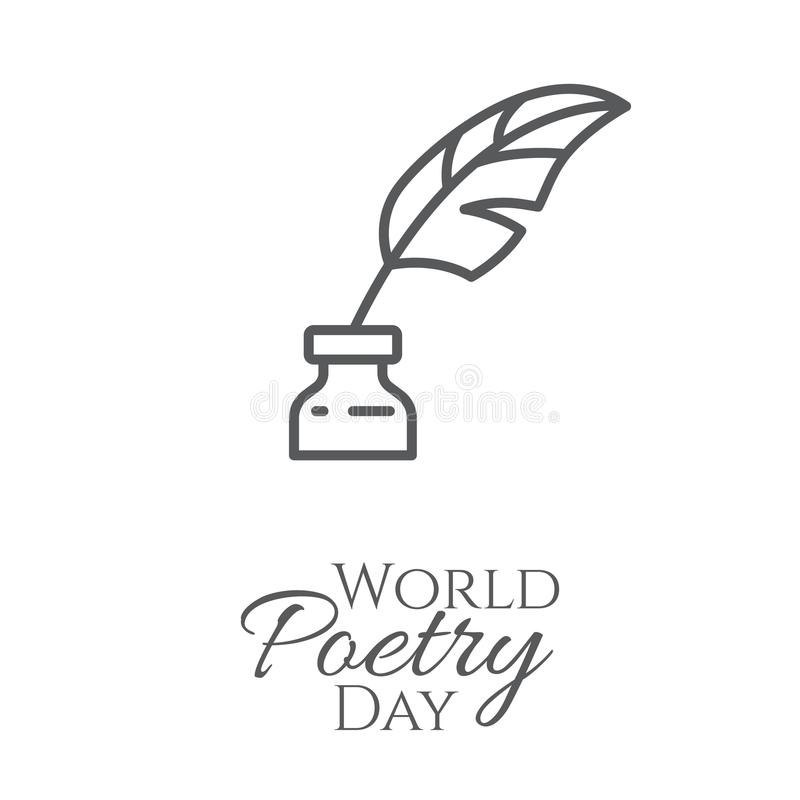 World poetry day banner with outline inkwell and feather in it isolated on white background. World poetry day banner with outline inkwell and feather in it vector illustration