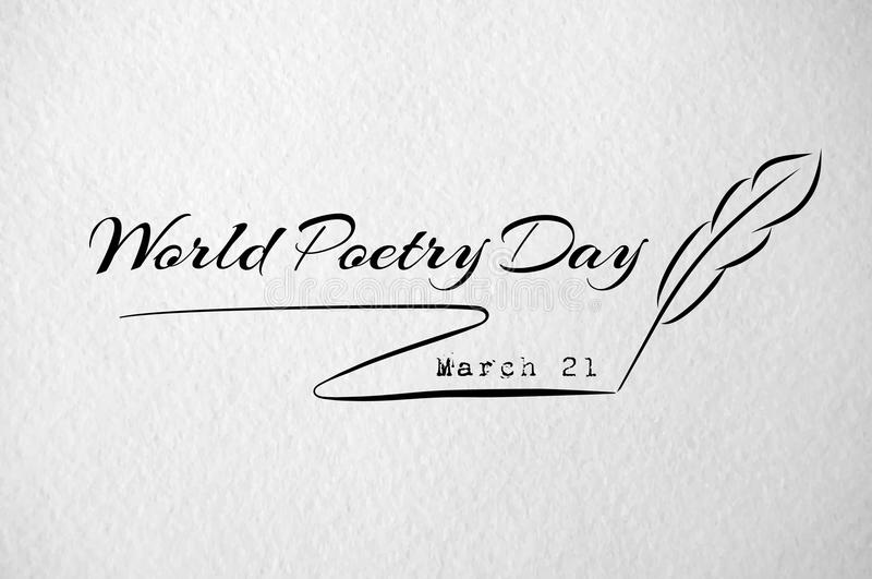 World poetry day card with feather. Paper texture vector illustration