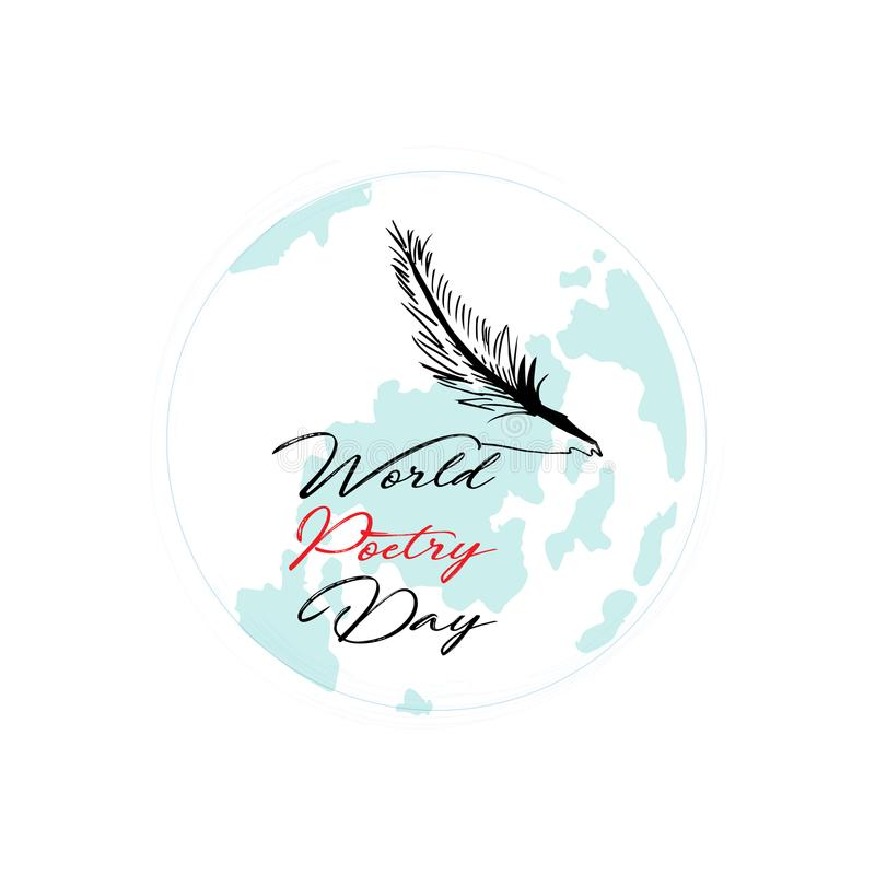 World poetry day. Greeting card vector illustration
