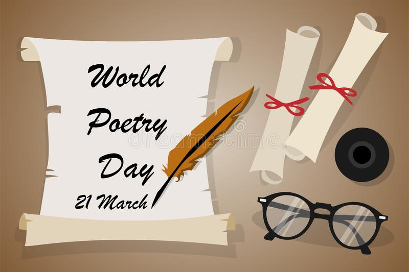 World poetry day on March 21. Background royalty free illustration