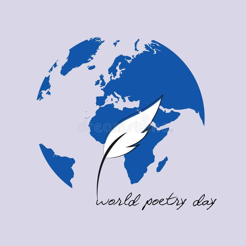 World poetry day sketch of a fountain pen and blue earth vector illustration