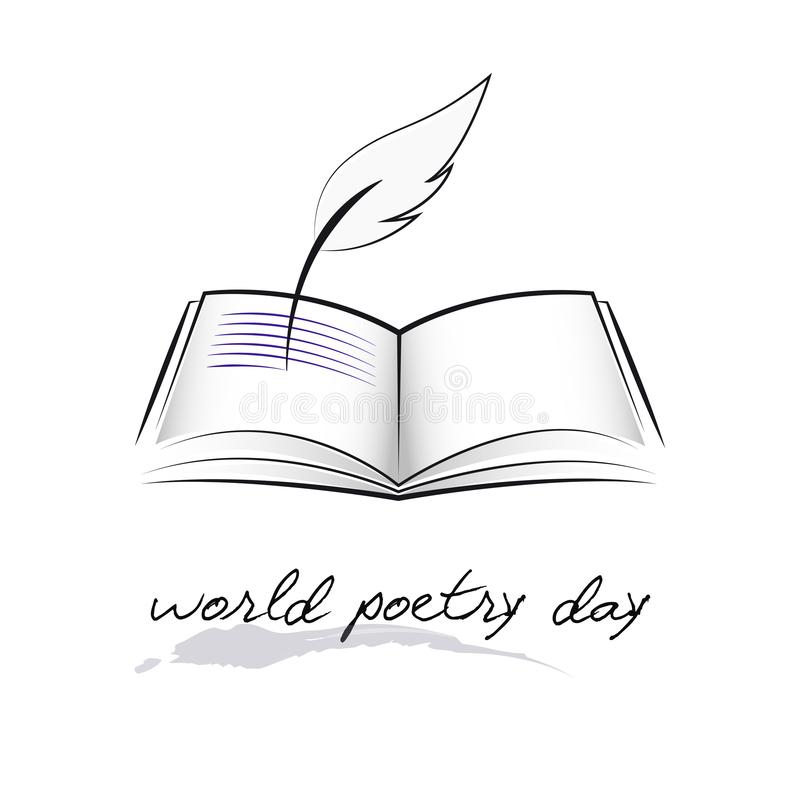 World poetry day sketch of a fountain pen and book. Vector illustration EPS10 stock illustration