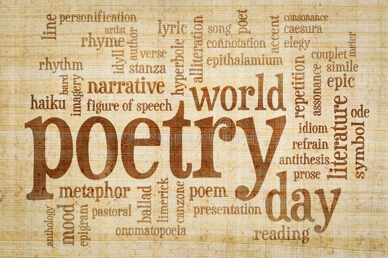 World poetry day -word cloud. World poetry day - word cloud on papyrus paper with yellow and brown fiber pattern royalty free illustration